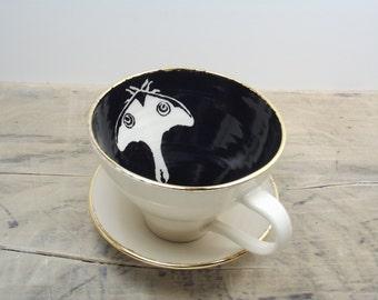 SALE Luna Black and Gold Moth Porcelain Large Tea Cup & Saucer