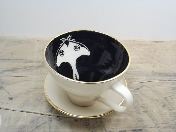 SALE Luna Black and Gold Moth Porcelain Large Tea Cup & Saucer