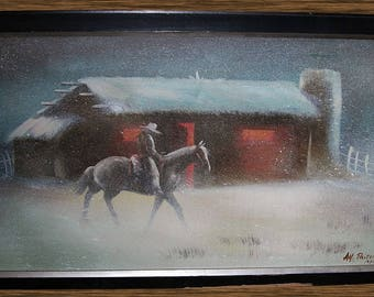 1972 Western Winter Snow Scene O/C Painting: Lonely Cowboy Riding Horse