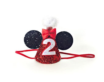 Minnie Mouse Birthday, Minnie Mouse Hat Glitter Red, Mickey Mouse Disney Party Hat, Cake Smash, Party Hat, Birthday Party Hat
