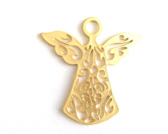 1pc- Matte Gold plated  Angel Charm-56x55 mm-(024-034GP)