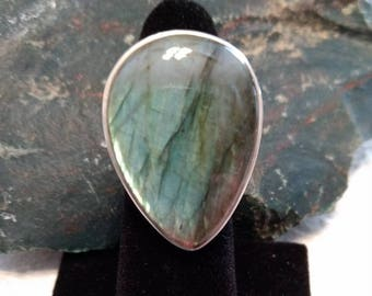 LABRADORITE FLASH Stone STATEMENT Ring Sterling Silver Size 8