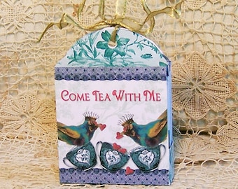 Tea Bag Gift Box Caddy Holder - Digital INSTANT DOWNLOAD - Printable Tea Party Favor With Blue Bird Heart Teacup Crown CS58C