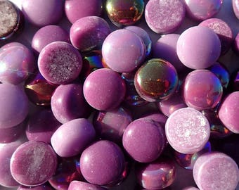 Berry Mix Glass Drops Mosaic Tiles - 100 grams Vase Fillers - Flat Marbles Mix of Gloss and Iridescent Glass Gems in Deep Purples