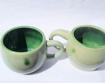 two matched green pottery coffee mugs (8 oz) - handmade stoneware pottery, ceramic espresso cups, pottery teacups