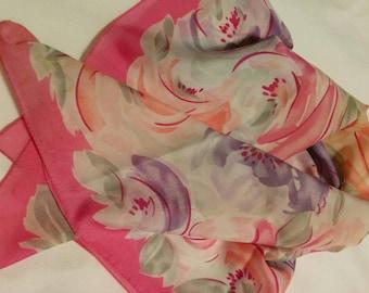Vintage Pink Floral Polyester Scarf