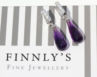Purple Amethyst and white sapphires briolette drop earrings