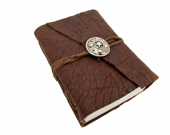 Leather book Terra roman shield silver Buffalo Leather - diary, journal, notebook or travel diary