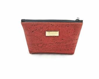 """9"""" x 5"""" - Rust Cork Gadget Bag - zipper pouch - Bag organizer"""