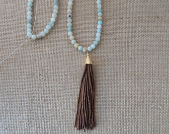 Long amazonite necklace with copper beaded tassel, ocean inspired, layering necklace, beach chic, boho style, resort wear, summer fashion