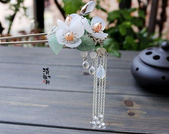 Chinese hair stick/flower hair stick/hair pin,white hair accessories,gift for women,gift for her