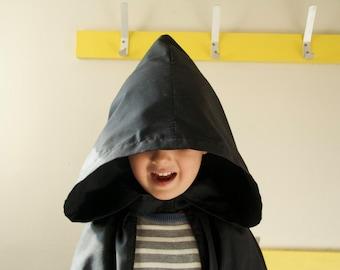 Black Hooded Cape Cloak | Kids Harry Potter Hobbit Costume Dressing up Cape with Hood