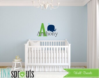 Cute Whale with name Decal, Baby whale, Whale family, Nautical decal , Orca, Under the sea, Modern Nursery, Nursery decals, Baby Decals,