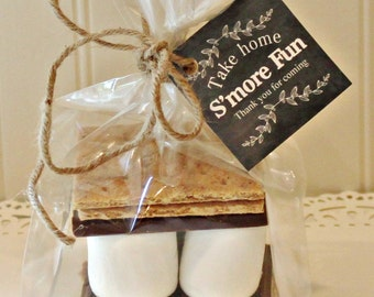 S'mores Favor Kits, 12  S'mores Party Favor Kits, Chalkboard Style Tags, Rustic Weddings, Baby Shower Favors, Tailgate Party, Football Games
