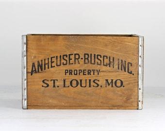 Vintage Beer Crate Anheuser-Busch Beer Crate 1976 Budweiser Old Beer Crate Budweiser Wood Crate Budweiser Crate Wood Beer Crate Breweriana