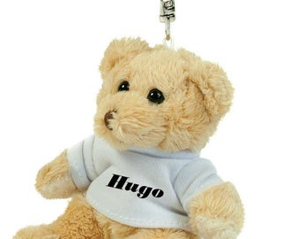 Teddy bear plush Keychain custom name