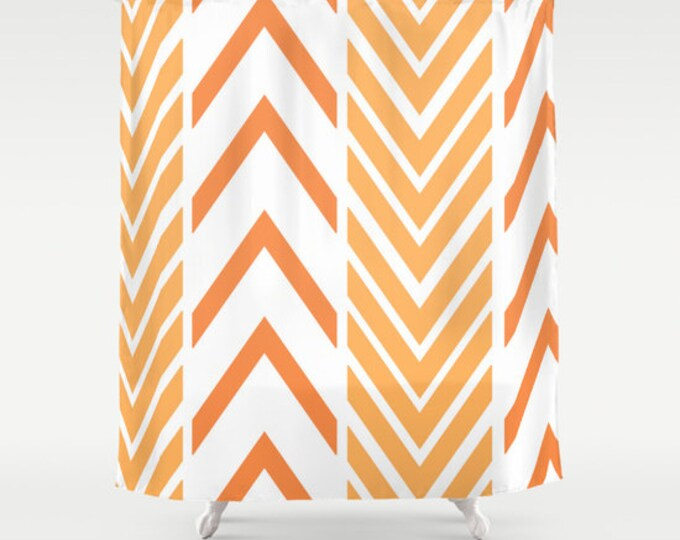 Shower Curtain -Orange and White Shower Curtain - Arrow Shower Curtain - Made to Order