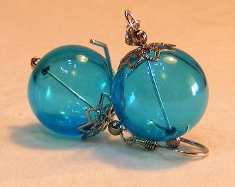 RESERVED FOR SHANE - Blue Christmas ornament earrings