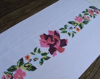 Vintage Handmade Floral Needlepoint Pillow Cover or Table Runner
