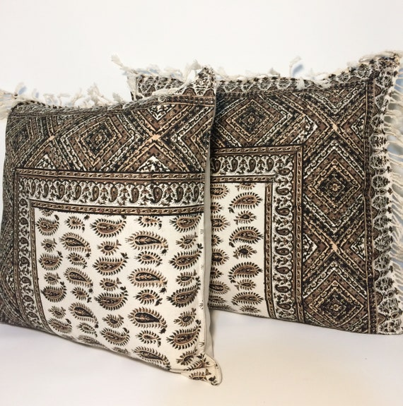 """Set of Decorative Cushion Cover ,throw pillow, brown pillow , 19"""" traditional pillow case"""