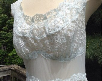 Vintage Pale Blue Nylon Lace Nightgown Vanity Fair