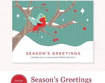 Printable Holiday Card - Season's Greetings Printable Christmas Card - Bird Holiday Card PDF - Digital Christmas Card - Instant Download