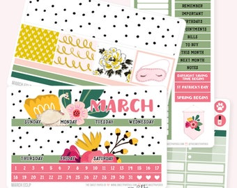 MARCH Monthly View Planner Sticker Set | Fits ECLP or Classic Happy Planner