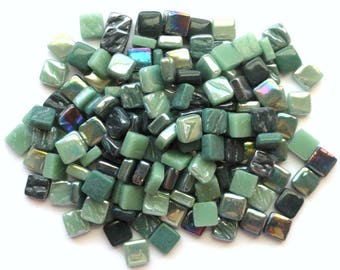 100 8mm Green Mix Mini SQUARES//Recycled Glass Mosaic Tiles//Mosaic Supplies//Craft Supplies//Mosaic Pieces