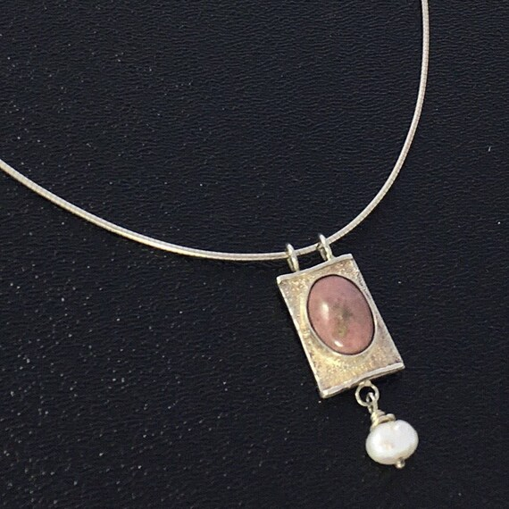 Rhodonite Gemstone  Silver Necklace with Pearl