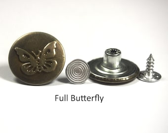 20mm Hammer on Metal Jeans Buttons Studs & Backs - Choice of Style and Quantity