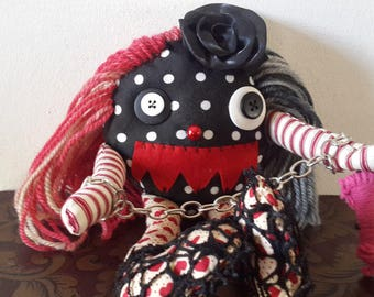 Hand made gothic doll, penny doll, lil monster doll, OOAK doll, monster horror doll, cutemonster, Halloween, halloween gift, birthday gift