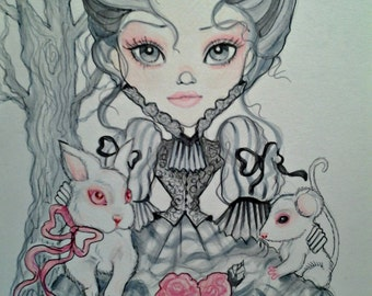 Victorian Gray and Pink Girl ACEO/ATC Artist Trading Card By the Artist Leslie Mehl
