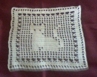 Vintage Hand Crochet Filet Cat Doily 8 x 8 #2