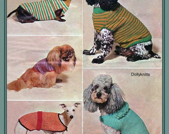 Knitting pattern for 5 dogs coats.