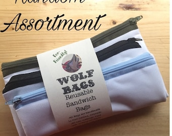 Wolf Bags; REUSABLE sandwich bags [Random Colors]