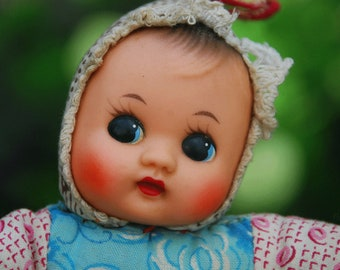 Squeaky doll / cloth doll with flower pattern