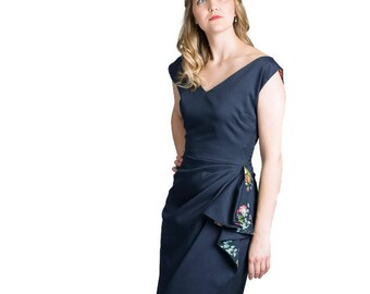 Navy dress | 1950s | 1950s inspired special occasion/ mother of the bride/ groom/ wedding guest outfit lined in floral cotton