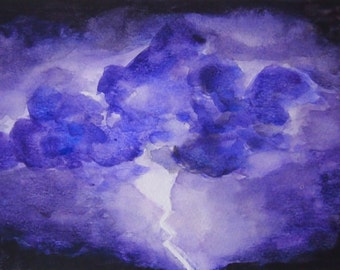 Lightning Storm Watercolor Print