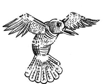 Bird art rubber stamp WM hand drawn