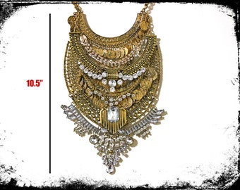 Grand Golden Ultra Large Long Bib Necklace