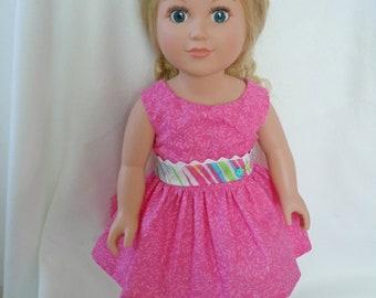 Pink sundress fits like 18 inch American Girl doll clothes, AG doll clothes, doll dress, doll summer dress, doll sundress