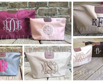 Medium Personalized Cosmetic Case, Monogrammed Cosmetic Case, Nylon Tote