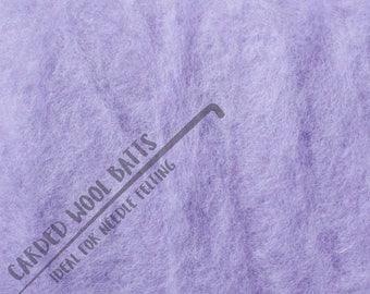 Lilac Purple Colour Carded Wool Batts For Needle Felting 5g 10g 20g | 100% Sheep Wool | Needle Felting Wool | The Happy Felt Club