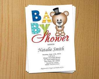 Baby Shower Invitation Boy Baby Shower Invitations Bear Baby Shower Invitation for Boy (V5)-Free Thank You Card