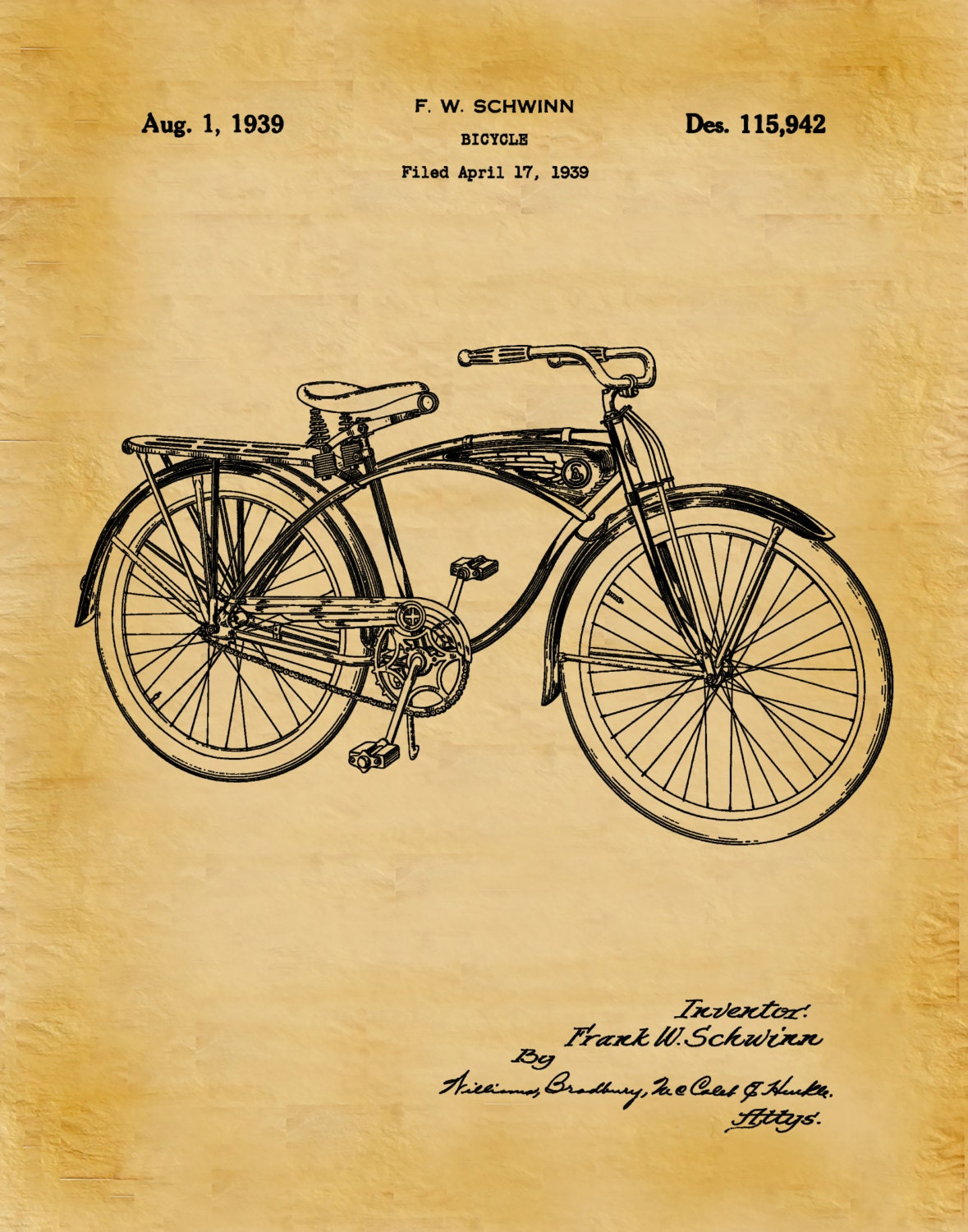 Patent 1939 Schwinn Bicycle Invented by Frank Schwinn - Art Print ...