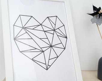 Artprint graphic black and white heart