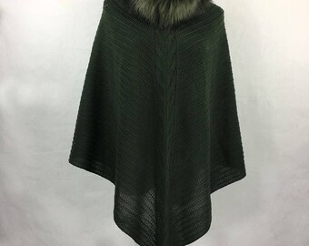 Mothers Day Gift Green Cape Coat Faux Fur Coat Faux Fur Cape Boho Poncho Green Cape Coat Green Poncho Faux Fur Poncho Green Coat Knit Poncho