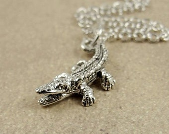 Tiny Alligator or Crocodile Necklace, Silver Alligator Charm on a Silver Cable Chain