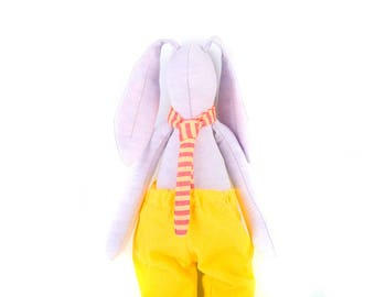 Doll Bunny , Rabbit Stuffed Animal Doll , Soft Toy , Bunny Doll , Cloth Doll , Rag Doll , handmade Fabric Doll , Plushie , Softie animel