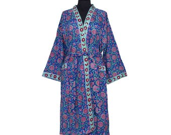 COTTON DRESSING GOWN - Block printed - Blue and red pattern
